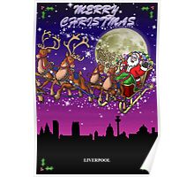 Here comes Santa Claus - Liverpool skyline Poster