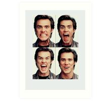 Jim Carrey faces in color Art Print