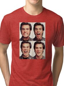 Jim Carrey faces in color Tri-blend T-Shirt
