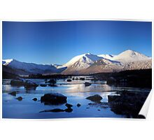 First Light on Black Mount across Lochan na h-Achlaise, Rannoch Moor Poster