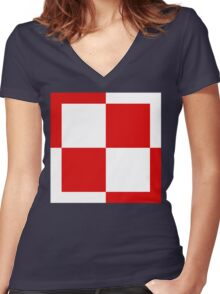 Polish Air Force Insignia  Women's Fitted V-Neck T-Shirt