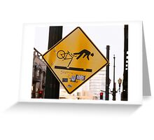 Falling Cyclist Greeting Card