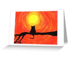 Sunset Cat Greeting Card