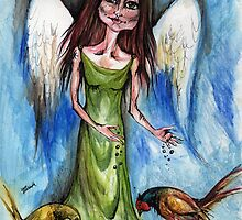 Angel with pheasants by tarantella