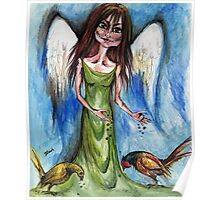 Angel with pheasants Poster