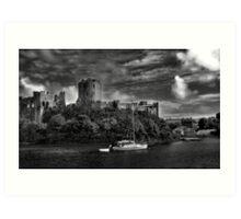 pembroke castle - black and white Art Print