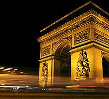 Arc de Triomphe at Night by Mark Tomlinson
