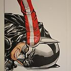 wonder woman stepping on batmans head by Ammaarah