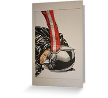 wonder woman stepping on batmans head Greeting Card