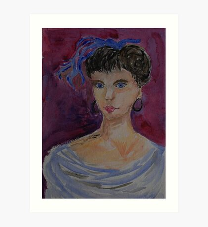 Lady with a blue hairbow Art Print