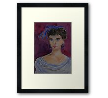 Lady with a blue hairbow Framed Print
