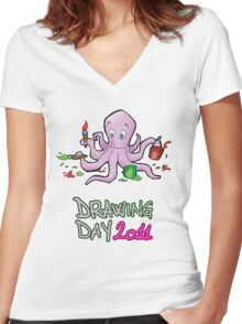 Drawing day 2011 Women's Fitted V-Neck T-Shirt