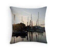 Yachts on the marina Throw Pillow