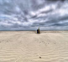 Trash Can On Beach - Galveston Island, Texas by jphall