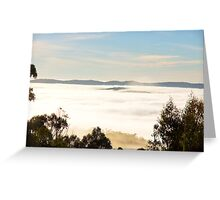 Clouds filling the valley below us Greeting Card