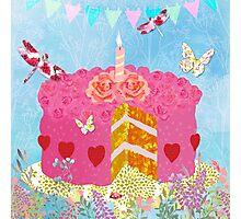 Birthday Cake, Garden Party festive whimsical art Photographic Print