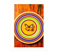 Butterfly On Plate Art Print