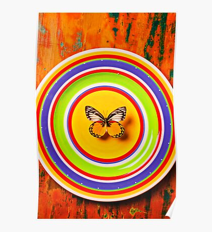 Butterfly On Plate Poster