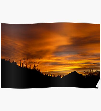 Sunrise Over Tucson Mountains Poster