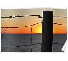 Fence at Sundown Poster