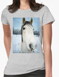 Snow Struck Horse Womens Fitted T-Shirt