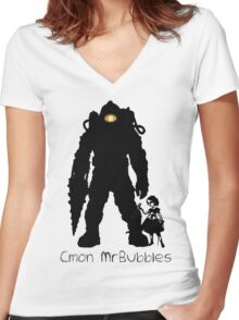 Cmon Mr.bubbles Women's Fitted V-Neck T-Shirt