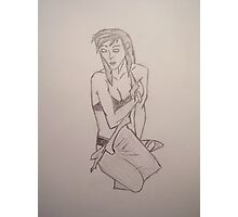 WOMAN BLACK AND WHITE  SKETCH Photographic Print