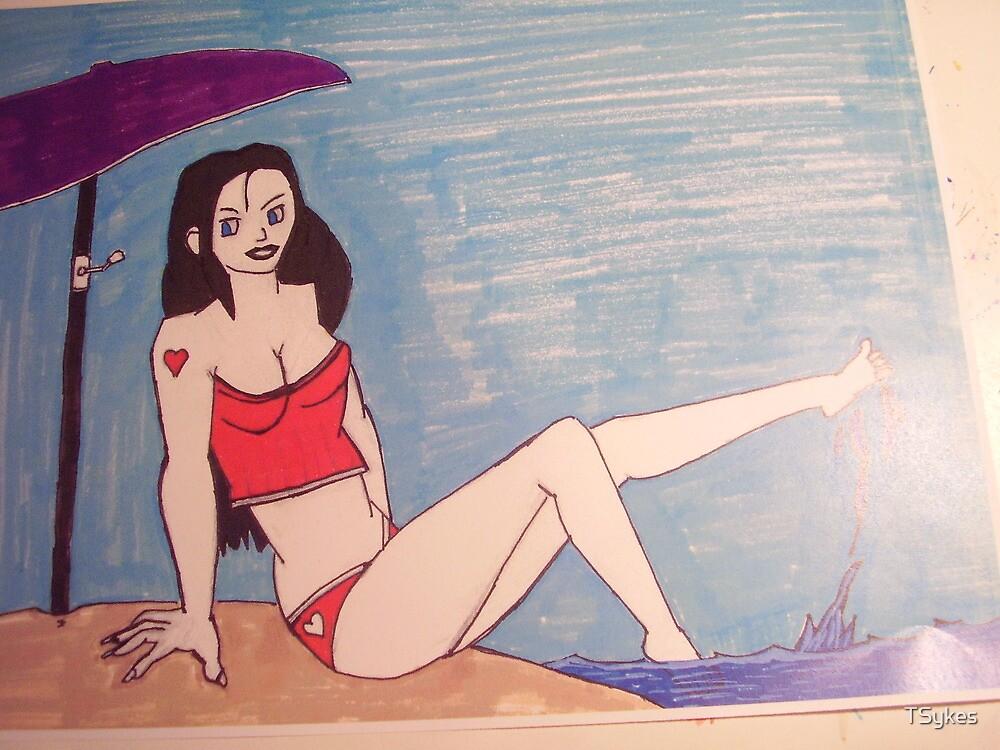 MANGA GIRL ON THE BEACH by TSykes