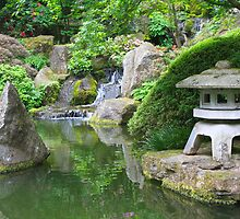 Japanese Garden, Pond and Waterfall by John Butler