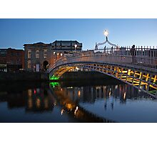 Ha'penny bridge at dusk Photographic Print