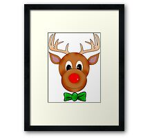 Funny Reindeer with Red Nose and Antlers Framed Print