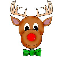 Funny Reindeer with Red Nose and Antlers Photographic Print