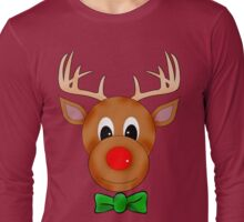 Funny Reindeer with Red Nose and Antlers Long Sleeve T-Shirt