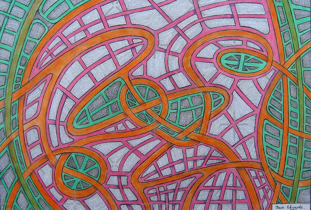 334 - OVERLAPPING RIBBONS - DAVE EDWARDS - COLOURED PENCILS - 2011 by BLYTHART