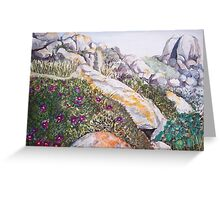 Coastal Rocks Watercolour Painting Greeting Card