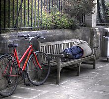 Sleeping Rider - An Oxford City street at Noon by Victoria limerick