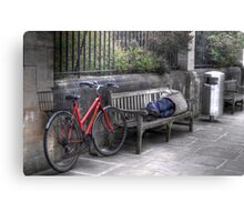 Sleeping Rider - An Oxford City street at Noon Canvas Print