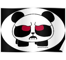 Furious panda on white oval Poster