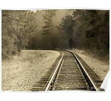 Just Around The Bend - Train Track In Sepia Poster