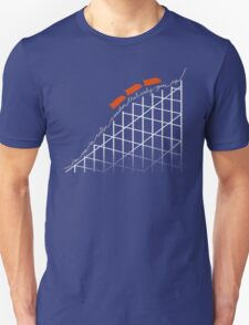 I'm On a Roller Coaster That Only Goes Up (Orange Cars) Unisex T-Shirt