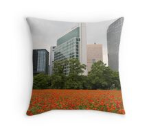 Orange Flowers in Tokyo City - Ginza Area Throw Pillow