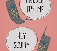 Mulder & Scully 90's phone by byebyesally