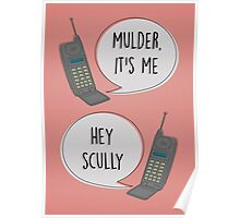 Mulder & Scully 90's phone Poster