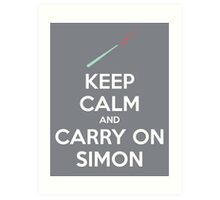 Keep Calm and Carry On Simon (White Text) Art Print