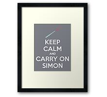 Keep Calm and Carry On Simon (White Text) Framed Print