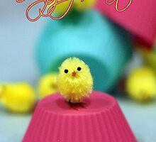 Waiting For Cake - Easter Card Fuzzy Chick by Moonlake