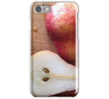 Half Red Pear on Cutting Board iPhone Case/Skin