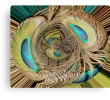 Peacock Feather Eyes in Abstract Canvas Print