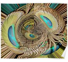 Peacock Feather Eyes in Abstract Poster