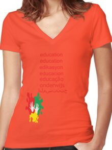 education t-shirt  Women's Fitted V-Neck T-Shirt